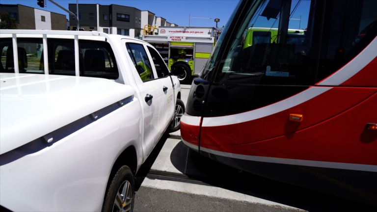 Canberra Metro and the ACT Emergency Services Agency staged a car versus light rail vehicle crash to test the responses of firefighters and paramedics.