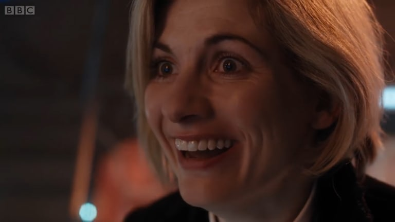 Jodie Whittaker in her first appearance as Doctor Who in the Twice Upon a Time Christmas special.
