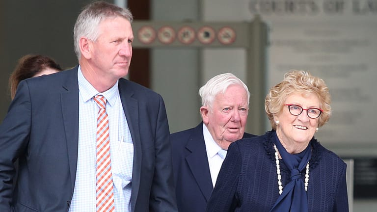 Denis Wagner with father Henry Wagner, and mother Mary Wagner leave the Brisbane Supreme court.