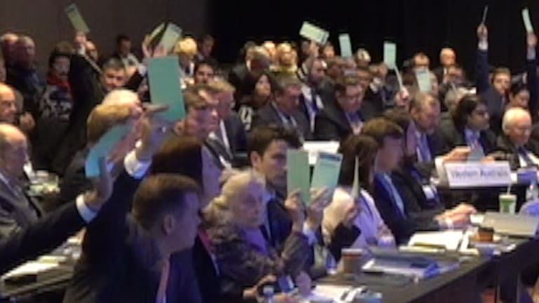 A screenshot from footage shows the strength of the vote to privatise the public broadcaster.
