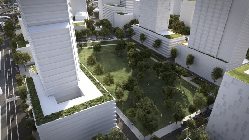 The state government proposes towers up to 40 storeys and two parks for the Waterloo housing redevelopment.