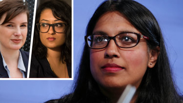 Federal Liberal Party vice president Karina Okotel (main), Chelsea Potter (inset left) and Dhanya Mani.