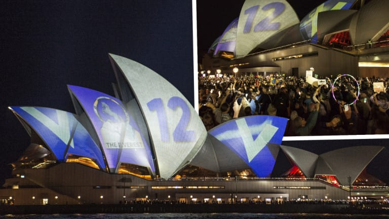 Whiff of snobbery: Protesters oppose the projection of material promoting The Everest onto the sails of the Opera House on Tuesday night.