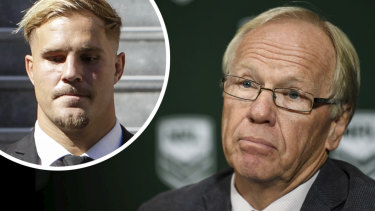 ARLC boss Peter Beattie led the campaign to stand down Jack de Belin (inset).