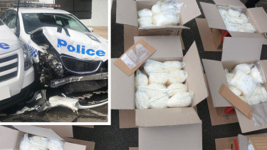 A man has been charged after more than 270kg of methylamphetamine was allegedly located in a van that crashed into parked police cars.