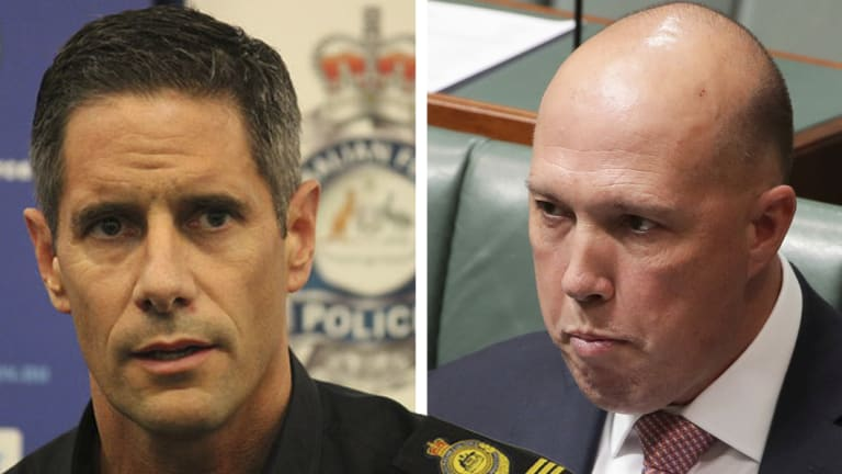 Former Australian Border Force commissioner Roman Quaedvlieg (left) and Home Affairs Minister Peter Dutton. (Digitally altered image)