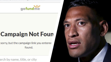 Israel Folau's controversial appeal for financial assistance for his legal fight  has been shut down by GoFundMe Australia.