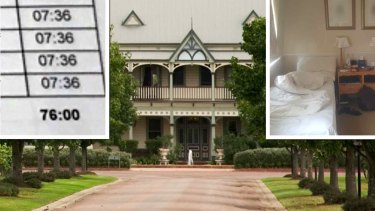The Convent Hunter Valley was raided last month. Top right: the sleeping quarters, top left, hours worked.