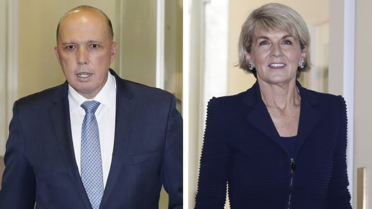 The failed contenders: Peter Dutton and Julie Bishop.