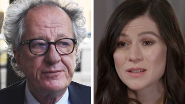 Actors Geoffrey Rush and Yael Stone.