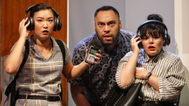 Michelle Lim Davidson, Anthony Taufa and Nakkiah Lui in How to Rule the World.