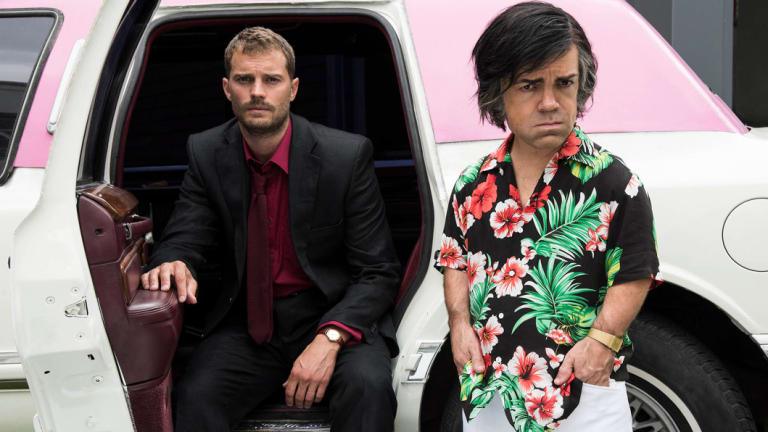 Peter Dinklage as Hervé Villechaize, with Jamie Dornan.