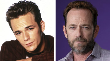 Luke Perry as Dylan Mckay in Beverly Hills, 90210 (left) and Fred Andrews in Riverdale.