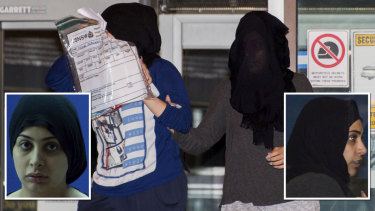 Zeinab Ali (left) and Fatmeh Noor leave Sydney Police Centre after receiving bail.