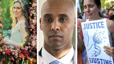 Justine Damond, left, was killed by  Minneapolis police officer Mohamed Noor, centre.