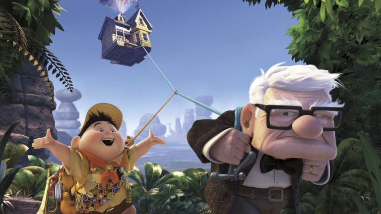The Pixar film Up charts the adventure of widower Carl Fredricksen and Junior Wilderness Explorer Russell.