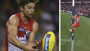 Embarrassing: Sydney's five-point win over Essendon was mired in controversy due to Dane Rampe's actions.