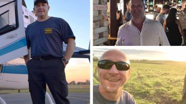 Pilot David Kerr, left, and his friends, Grant Kuhnemann, top, and Jamie Ogden are among the five feared dead.