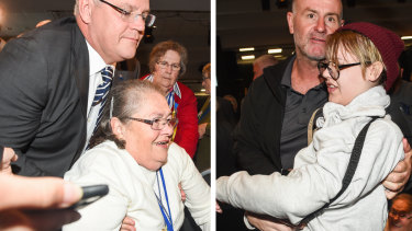 Scott Morrison helps an older woman after she was knocked over. Right: The young woman, now identified as Amber Holt, was escorted out and arrested.