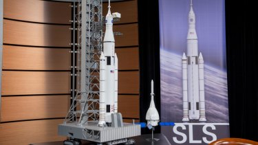 A model of the Space Launch System, the next-gen rocket that NASA hopes will take us to Mars. The Orion craft, in the foreground, will carry crew to Mars.
