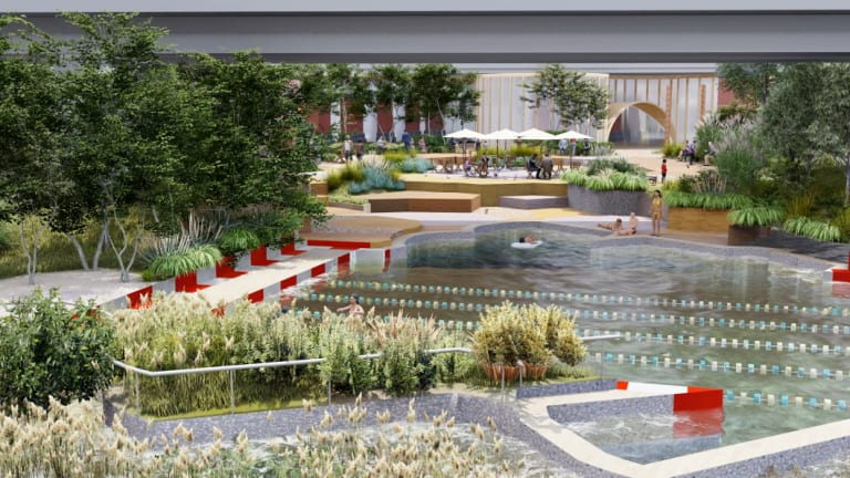 WoWoWa's proposal for a public swimming pool on the banks of the Yarra in the CBD.