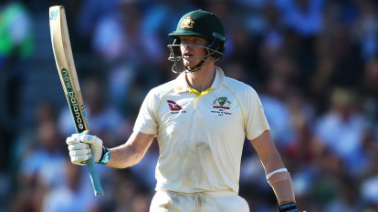 Australia's rock Steve Smith holds firm, while the rest crumble