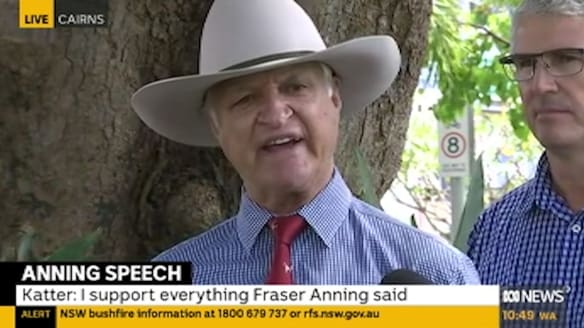 Fraser Anning's Final Solution speech 'absolutely magnificent', says Bob Katter