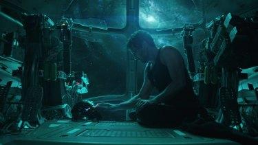 Robert Downey Jr as Iron Man in a scene from <i>Avengers: Endgame</i>.