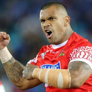 Feared: Manu Ma'u playing for Tonga.