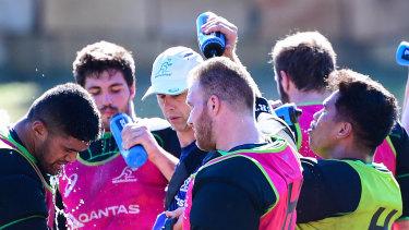 Matt Gibbon (centre, pink jersey) cools off at Wallabies camp in Brisbane this week.