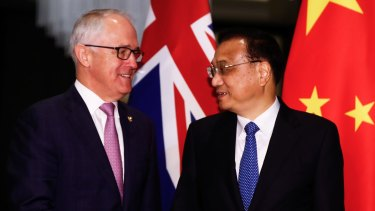 History lesson: then PM Malcolm Turnbull meets with Chinese Premier Li Keqiang during a bilateral meeting at the ASEAN summit in Manila, Philippines, in 2017.