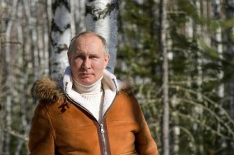 Vladimir Putin in a Siberian holiday official photograph, March 2021