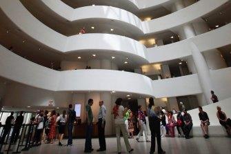 Inside the Solomon R. Guggenheim Museum in New York, designed by architect Frank Lloyd Wright.
