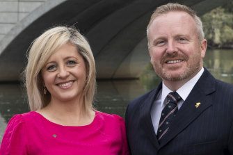 The member for Lindsay, Melissa McIntosh, with her husband Stuart.