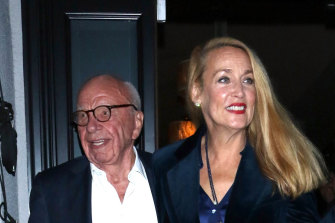 Rupert Murdoch and Jerry Hall, pictured in November 2019, have been isolating at their Georgian mansion in Oxfordshire.