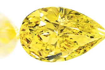 The Vivid Yellow, a pear-shaped fancy vivid yellow diamond of 32.77cts with an estimated value of $US6 to 8 million.