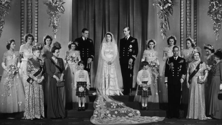 The Wedding Party in the Throne Room at Buckingham Palace after the ceremony.