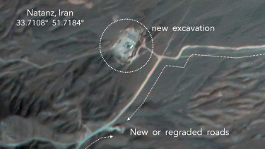 A satellite image shows construction at Iran's Natanz uranium-enrichment facility that experts believe may be a new, underground centrifuge assembly plant.