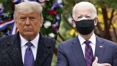 US President Donald Trump and President-elect Joe Biden at Veterans Day ceremonies on Wednesday.