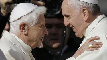 Two popes: Benedict XVI, left, with Pope Francis in 2014.