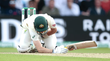 Marnus Labuschagne cops a hit to the groin off the bowling of Stuart Broad.