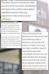 A Murdoch student publication wrote about heavy legal threats brought by three guild councillors in August 2019.