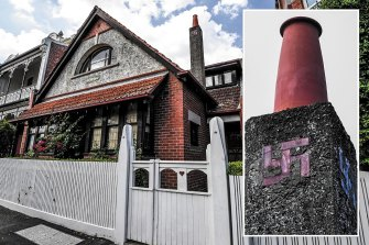 This house in East Melbourne, built in 1916 and pre-dating the Nazi movement, features a swastika on the chimney.