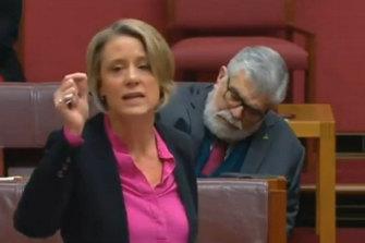 Labor Senator Kim Carr appears to be asleep while Labor Senator Kristina Keneally is speaking.
