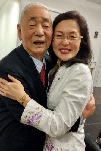 Gladys Liu with her father at Parliament House in the July 2019 week of her maiden speech. Photo courtesy of Gladys Liu