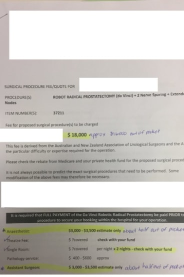 A redacted copy of a surgical fee quote for a robotic radical prostatectomy.