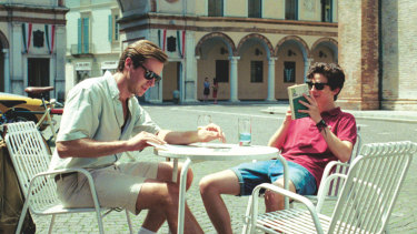 Armie Hammer and Timothee Chalamet as Oliver and Elio in Call Me By Your Name.