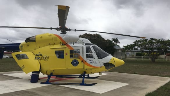 The LifeFlight rescue helicopter took the man from Blackbutt to the Sunshine Coast.
