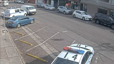 CCTV footage captured the moment the van hit the police cars.