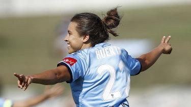 Sofia Huerta celebrating a goal in last year's W-League grand final against Perth.